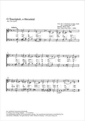 Franz Liszt O Traurigkeit O Herzeleid Sheet Music Buy Choral Sheet Music