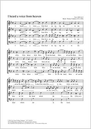 Thomas Tomkins: I heard a voice from heaven full score
