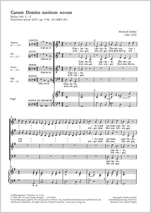 Heinrich Schütz: Cantate Domino / Lobsinget Gott dem Herrn