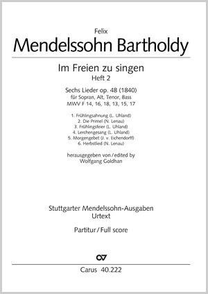 Mendelssohn: Im Freien zu singen (Heft 2)