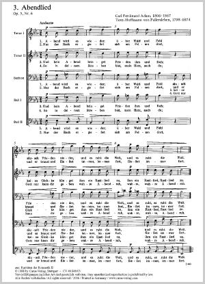 Carl Ferdinand Adam: Chant du soir