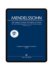 Mendelssohn: Christus. Part I: The Birth of Christ. carus music