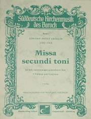 Johann Ernst Eberlin: Missa secundi toni